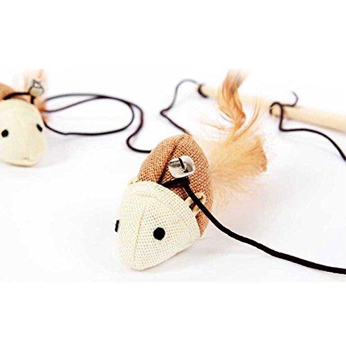 Soccik Katzenspielzeug Katzenangel Katze Spielzeug Katzen Stöcke Zauberstab Mit Holz Maus Für Spaß Auslastung und Abwechslung im Katzenalltag