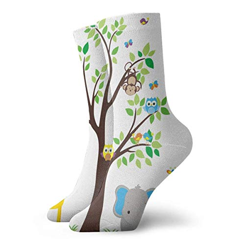 dfegyfr Kids Decor Children Nursery Room Safari Cartoon Animals Art Print Casual Crew Socks,Thin Socks Short Ankle for Outdoor,Running,Athletic,Travel - Safari Room Decor