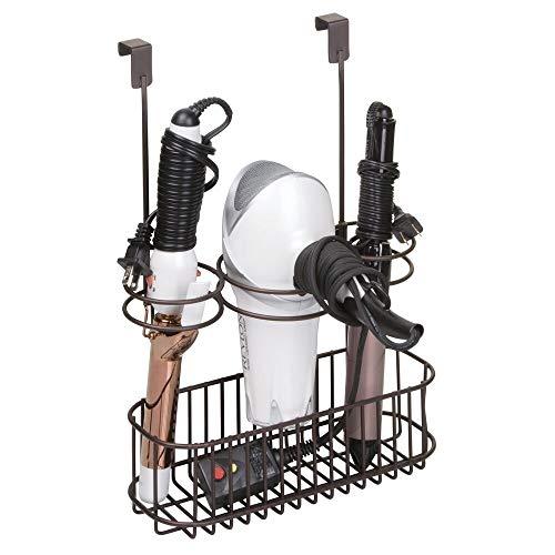 mDesign Fönhalter ohne Bohren - mit Gitterbox - ideal zur Fön Aufbewahrung und Lockenstab Aufbewahrung - einfach aufhängen & Ordnung schaffen