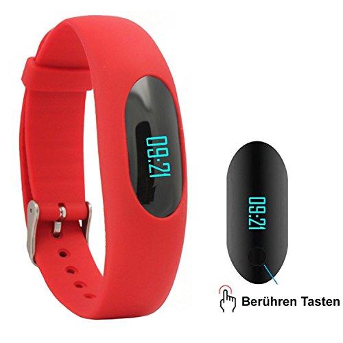 AsiaLONG Fitness Armband Schrittzähler Uhr Aktivitätstracker mit Schlafüberwachung / Kalorienzähler / Entfernung / Zeit Dtum / Touch Bildschirm für Gehen Laufen (Ohne Bluetooth, Ohne APP Handy)
