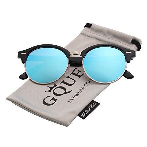 Gqueen occhiali da sole bordo in corno mezza montatura polarizzati gq51