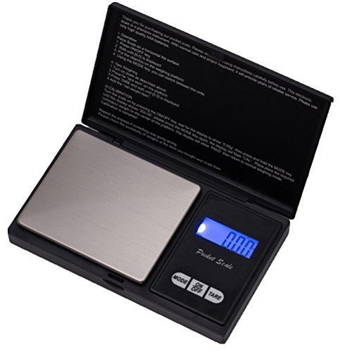 HBlife Präzisions-Taschenwaage (Genau von 0,01g bis 200g), Küchenwaage, Schmuckwaage mit LCD-Anzeige und Tara-Funktion (Schwarz)