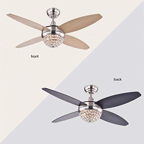 WHYIN 52 In Wood Nickel Blade Crystal Ceiling Fan Light With Remote Control  E27 Light