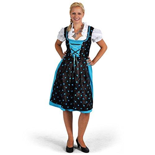 Dirndl Trachten Kleid Damen Midi mit Schürze türkis/braun Edelweißknöpfe Blusen Bustier perfekt zum Oktoberfest - 38