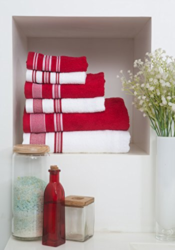 Spaces 6 Piece Cotton Towel Set - Red and White
