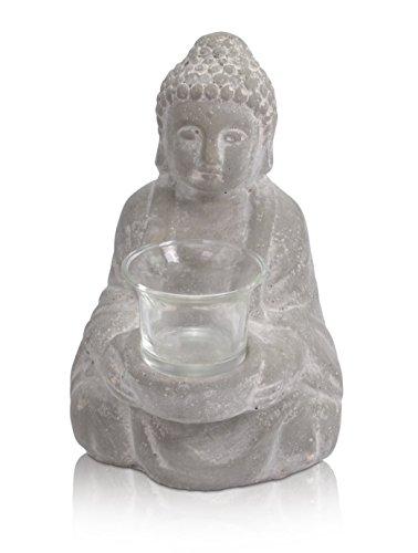 CHICCIE Deko Keramik Buddha Figur sitzend mit Glas - Höhe 20,5cm Teelichthalter Kerzenhalter Teelicht -