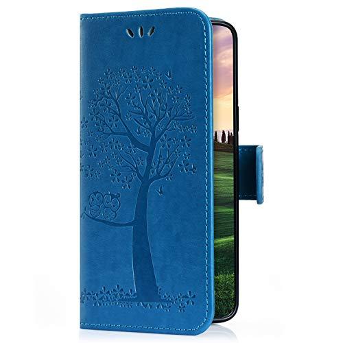 Uposao Kompatibel mit Samsung Galaxy M10 Handyhülle Handytasche Cute Eule Muster Brieftasche Hülle Bookstyle Schutzhülle Leder Tasche Lederhülle Flip Wallet Cover Kartenfach Ständer,Blau