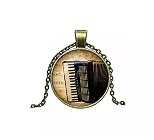 Vintage Akkordeon Glas Cabochon Anhänger Halskette Fashion Jewelry Link Kette Halskette für Damen Herren