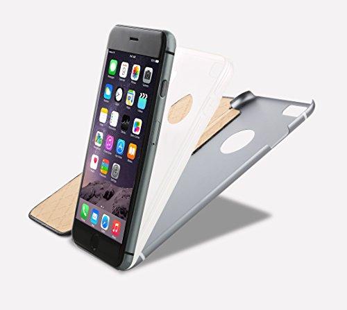 OKCS Binli, Custodia/flip cover protettiva in vera pelle per iPhone 6 Plus, con parte posteriore elegante e rigida in alluminio, in plastica TPU, colore nero bianco marrone Rosegold