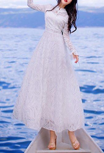 Bigood Femme Vogue Maxi Robe en Dentelle Manche Longue Mariage Soirée Blanc