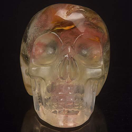 YOUZE 2 Zoll Wassermelone Turmalin künstlichen Stein Schädel Statue Mineral Crystal Skull Figur Hand Geschnitzte Feng Shui Healing Collection, Schädel