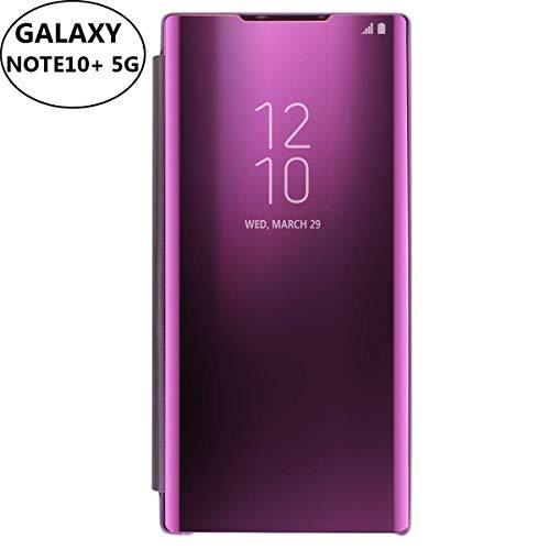 AICase Kompatibel mit Samsung Galaxy Note 10+ Plus 5G Hülle-Folio-Schutzhülle für Galaxy Note 10+ 5G, Flip Handy Case Clear View Standing Cover mit Wake up/Sleep Funktion (Lila)