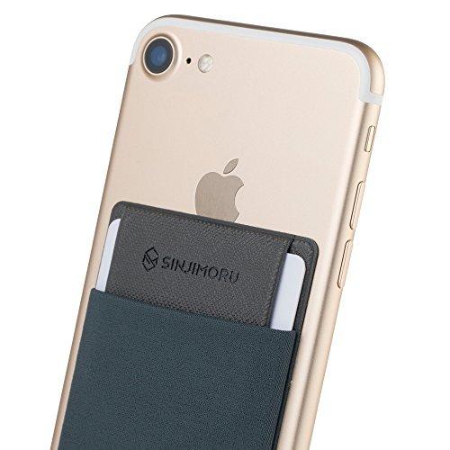 Sinjimoru Smartphone Kartenhalter/Smart Wallet/Kartenfach mit Verschluss/Kartenetui/aufklebbare Mini Geldbörse mit Sicherungslasche für iPhone und Android. Sinji Pouch Flap, Grau.