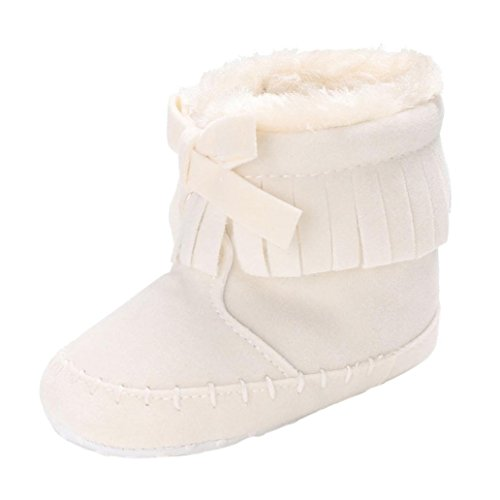 Ouneed® Krabbel Schuhe, Herbst Winter Baby Girl Soft Sole Booties Snow Boots Infant Toddler Newborn Warming Shoes (Zoll: 4,3
