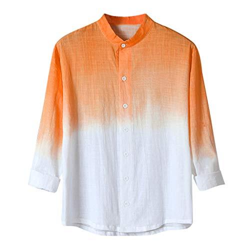 Xmiral T-Shirt Herren Lange Ärmel Atmungsaktiv Gradient Color Shirt Hemde T-Shirt Hoodie Pulli Tank Top O-Neck Print Kurzarmshirt Top Shirt Sleeve Basic(Orange,XXL)