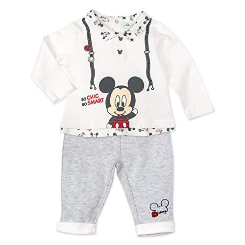 Disney Baby Set Hemd + Hose Jungen grau weiß | Motiv: Mickey Mouse | Babyset 2 Teile für Neugeborene & Kleinkinder | Größe: 18-24 Monate (92)