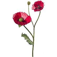 Set 3 x Amapola con 2 flores, 1 capullo, rojo, 70 cm - 3 unidades de Papaver artificial / Flor decorativa - artplants