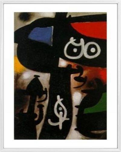 Joan Miró Poster Kunstdruck und Kunststoff-Rahmen - Frau Und Vogel, 1968 (50 x 40cm) -