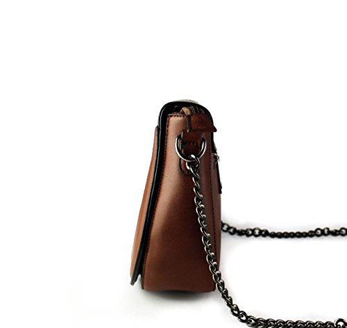 Foxlady, Elegante Borsa Con Texture Per Borsa A Tracolla Donna Marrone