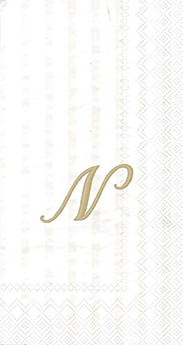 Ideal Home Serie 20-count 3-lagig Papier Streifen wieder Monogramm Cocktail Servietten, Papier, N, Monogram Guest Towel - Monogram Cocktail