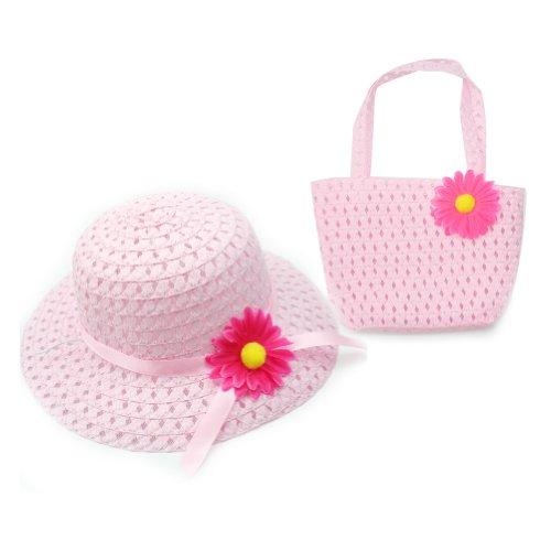 RHX Fashion Strohhut und Handtasche mit Blümchen, für Mädchen, Rosa
