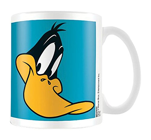 empireposter - Looney Tunes  - Daffy Duck  - Größe (cm), ca. Ø8,5 H9,5 - Lizenz Tassen, NEU - Beschreibung: - Looney Tunes, Ente Daffy Duck - Keramik Tasse, weiß, bedruckt, Fassungsvermögen 320 ml, offiziell lizenziert, spülmaschinen- und mikrowellenfest - (Blaue Keramik-ente)