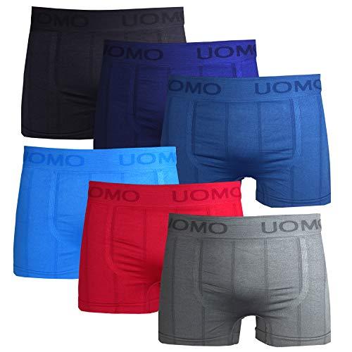 Frostfighter Herren Boxershorts 6er Pack Microfaser Retroshorts Männer Unterhosen Unterwäsche, Schwarz Blau Lila Hellblau Rot Grau, M/L