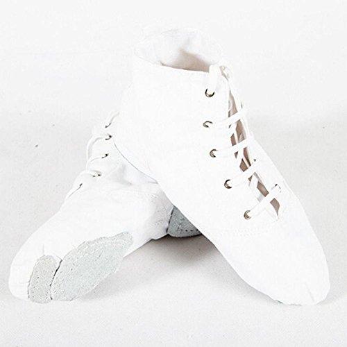 ELEAR® Unisex Erwachsene Kinder Reine weiche Canvas Toe Ballet Tanzschuhe Schnürschuhe Jazzschuh Weiß