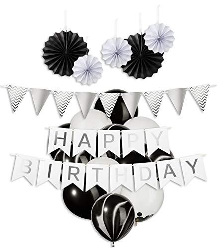 My Pinata Deko Geburtstag Junge und Mädchen Schwarz, Geburtstag Dekoration Set in Schwarz, Party Deko mit Happy Birthday Girlande, Konfetti Luftballons, Schwarz und Mamor ()