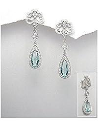 BrendaStyle Bijoux Boucles d'oreilles Pour Femme En Argent 925/1000 Rhodie Avec Zirconium et Topaze Bleu