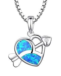 Collier en argent sterling pendentif pour les femmes, Flèche coeur de Cupidon avec bleu et vert opale de feu et Zircon, Maille vénitienne