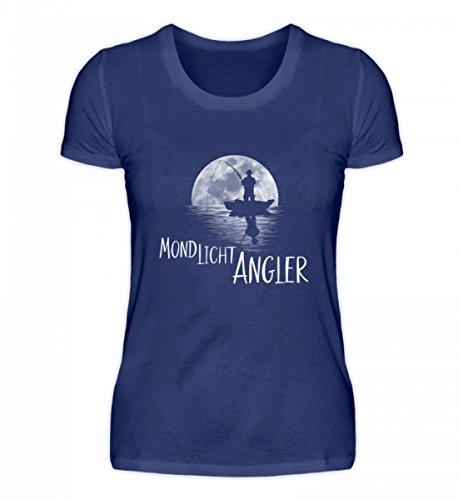 Shirtee Hochwertiges Damen Organic Shirt - Mondlicht Angler Vollmond Angeln Fischen Lila Blau