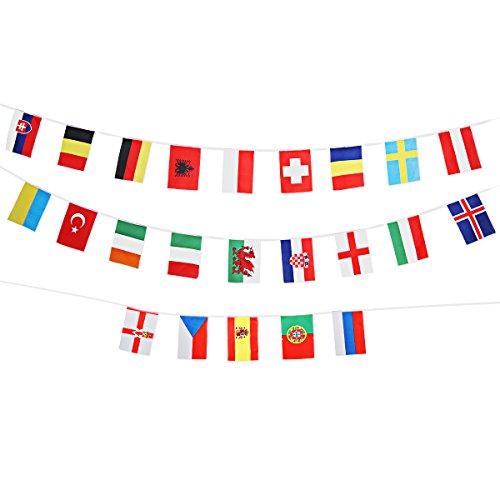 Amosfun 24 Länder Fahnen Bunting Fußball Europameisterschaft Nationalflaggen Banner Club Bar Party Dekoration Patriotische Partei Liefert (Patriotische Partei Liefert)