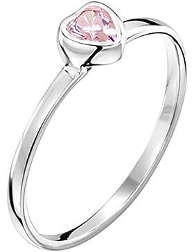 Jo for Girls Solitär-Ring Sterling-Silber 925 Zirkonia Rosa