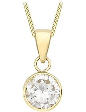 Carissima Gold Damen-Kette 9 k (375) white gold Curb Chain 46cm Rundschliff Zirkonia