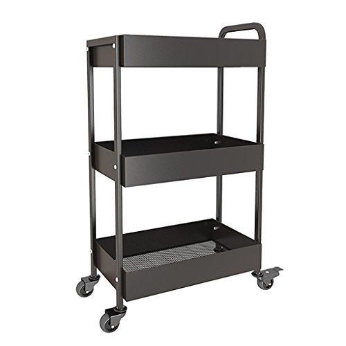 &étagère de rangement Chariot de stockage multifonctionnel de chariot de chariot de stockage d'étagère de support de cuisine Rack de finition (Color : Black)