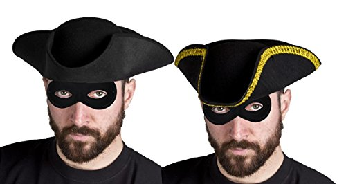 Für Erwachsene, Straßenräuber-Kostüm, Dick Turpin, Straßenräuber, Dreispitz-Hut mit goldenem Rand und Maske, ideal für Verkleidungswochen in der Schule oder jede andere Party, in Einheitsgröße erhältlich (schwarz mit goldenem Rand)