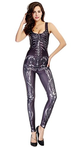 Bigood Skelett Bilder Deko Damen Halloween Kostüm Bekleidung Einheitgröße Schwarz