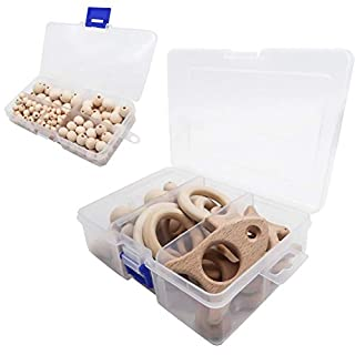 TOAOB 199 Stück Holz DIY Tier Rassel organischen Dschungel Holz Spielzeug Basteln für Kinder und Erwachsene zur Handwerk Deko Halskette Armband