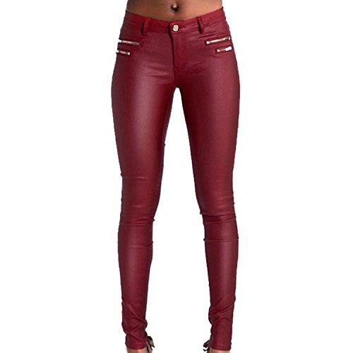 LAEMILIA Leggings Lederleggings Stretch Skinny Low Waist Hose in Leder-Optik Treggins Smooth Strumpfhose Lederoptik Slim Schwarz