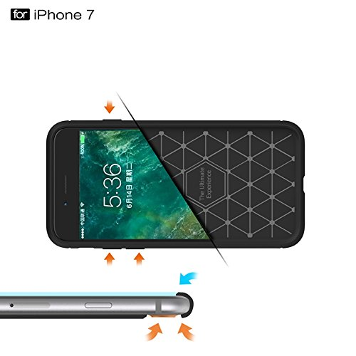 YHUISEN IPhone 7 Plus Case, Ultra Light Carbon Fiber Rüstung ShockProof gebürstet Silikon Griff Case für IPhone 7 Plus ( Color : Red ) Green