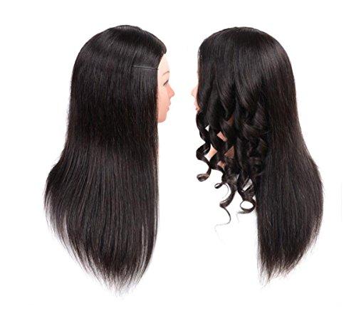 Aozzy Formation Tête Coiffure 85% Réel Cheveux Humains Cosmétologie Coiffure Mannequin Tête (noir)