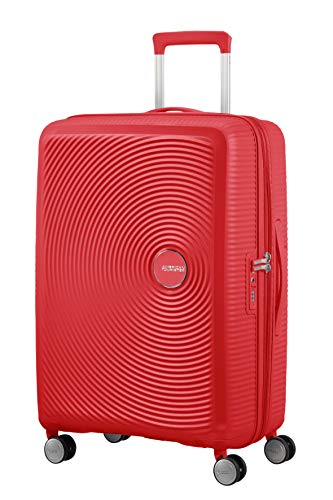 American Tourister Soundbox - Spinner Medium Expandable Koffer, 67 cm, 81 Liter, Coral Red