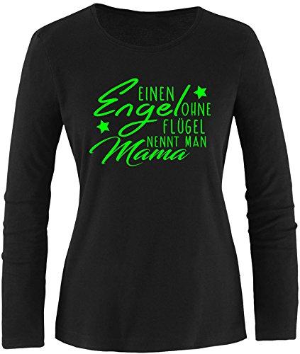 EZYshirt® Ein Engel ohne Flügel nennt man Mama Damen Longsleeve Schwarz/Neongrün