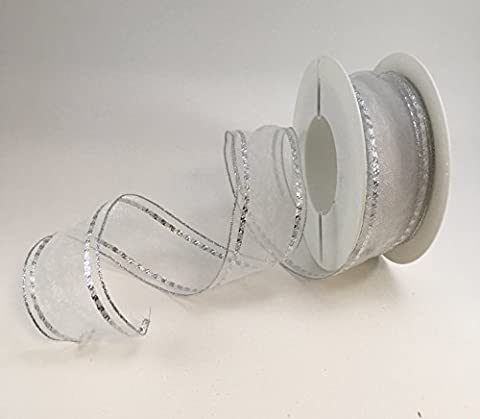 Wired luxury White organza ribbon with silver detail 40mm x 1m cut length