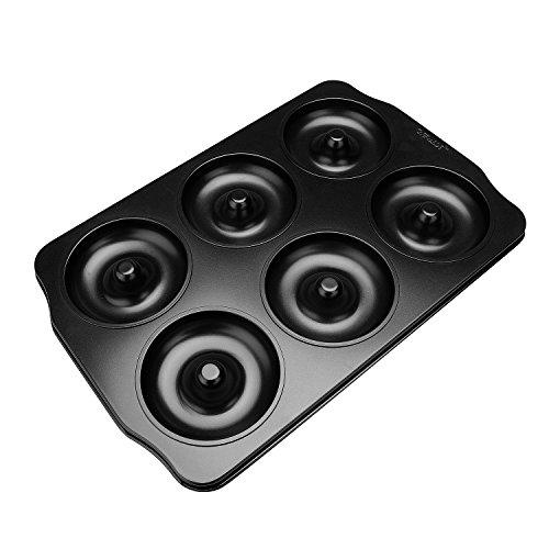 qobobo Donutform mit 6 Mulden, antihaftbeschichtetes Backform für Donuts, Carbon Steel Donutform, Backblech mit 6 Mini-Mulden, Cup Durchmesser 8.7cm(3,4 Zoll)