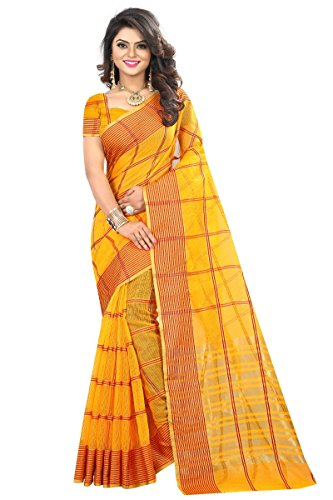 J B Fashion Women's Cotton Jaqard yellow color Saree for women With...