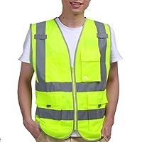 YiZYiF Executive Hi Viz Vis Vest High Visibility Zip Vests 2 Band Reflective Security Work Contractor Safety Workwear Waistcoat Jacket Top Plus Size