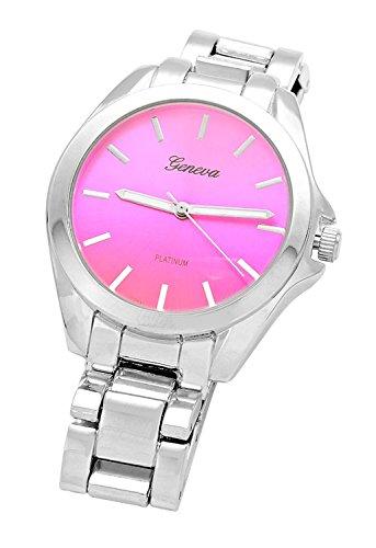 rosemarie-kollektionen-pink-face-runden-zifferblatt-silber-tone-metall-armbanduhr