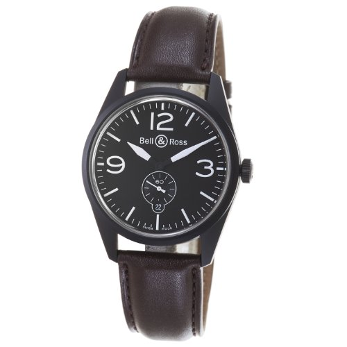 Bell and Ross BR123-ORIGINAL Carbon - Reloj de Pulsera Hombre, Color Marrón